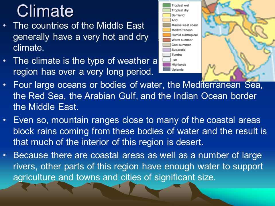 Climate The countries of the Middle East generally have a very hot and dry climate. The climate is the type of weather a region has over a very long p