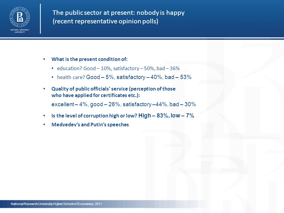 The public sector at present: nobody is happy (reсent representative opinion polls) What is the present condition of: education.
