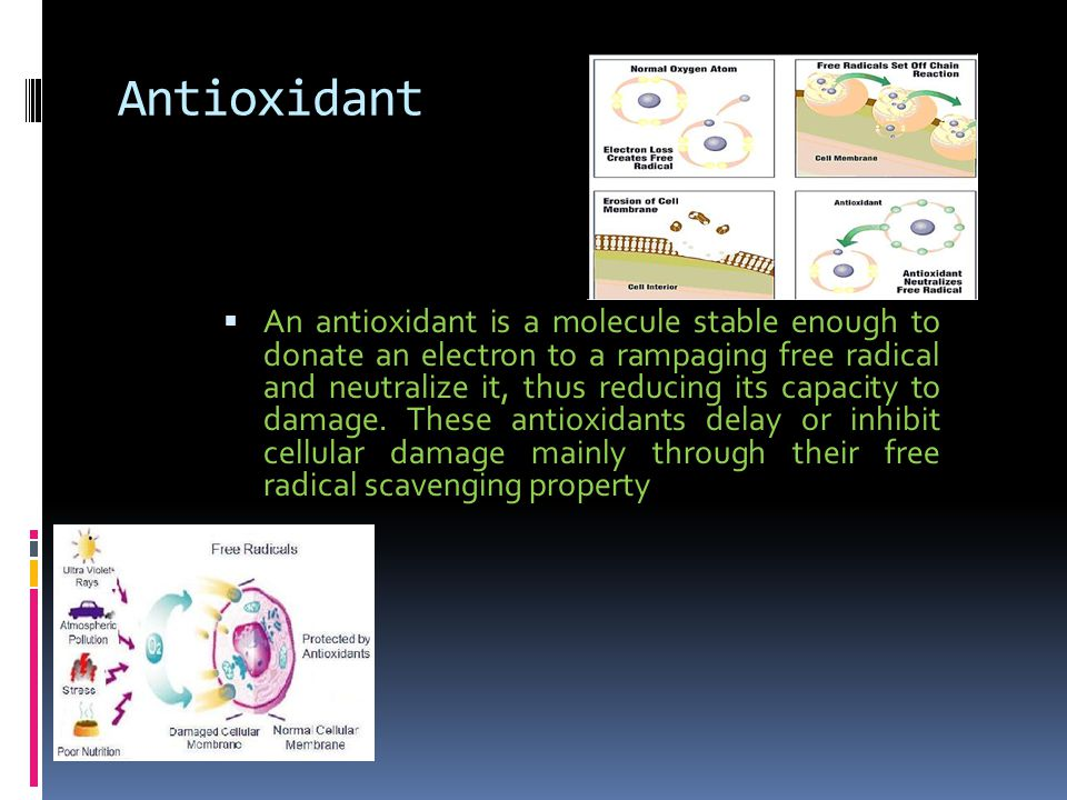 Antioxidant  An antioxidant is a molecule stable enough to donate an electron to a rampaging free radical and neutralize it, thus reducing its capacity to damage.