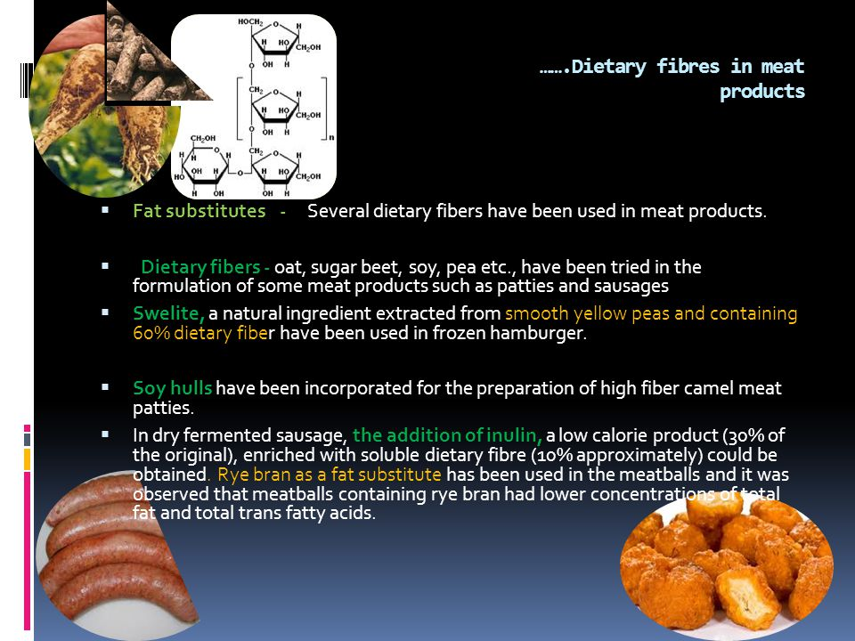 …….Dietary fibres in meat products  Fat substitutes - Several dietary fibers have been used in meat products.