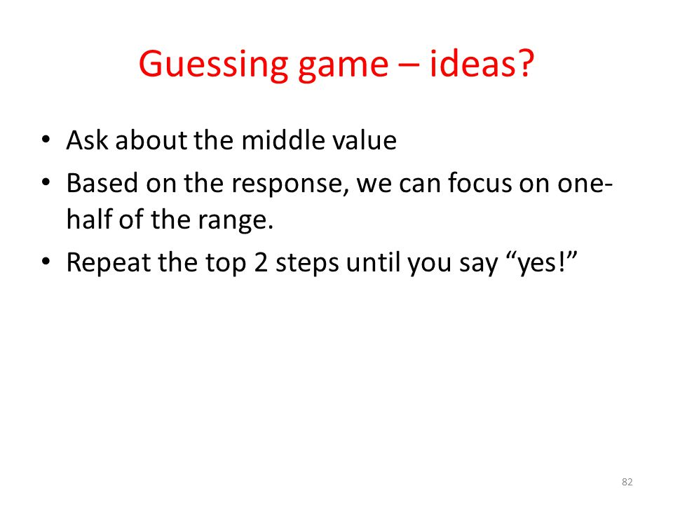 Guessing game – ideas.