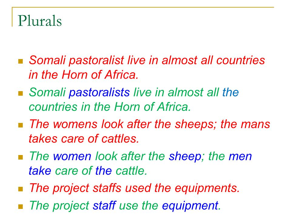Plurals Somali pastoralist live in almost all countries in the Horn of Africa.