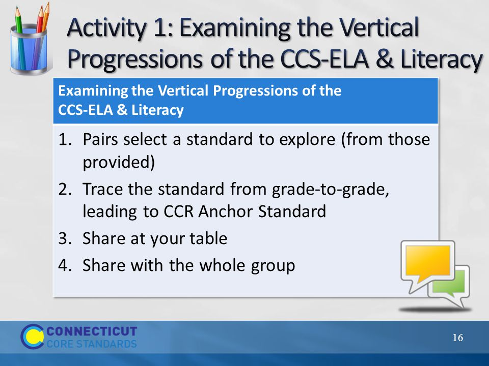 Refer to the CCR Anchor Standard to know the goal Attend to what is unique about your grade level standard Refer to the grades above and below to understand your grade level's unique place in the progression Teach the whole standard 17