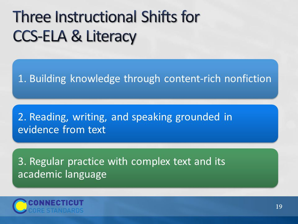 1. Building knowledge through content-rich nonfiction 2. Reading, writing, and speaking grounded in evidence from text 3. Regular practice with comple