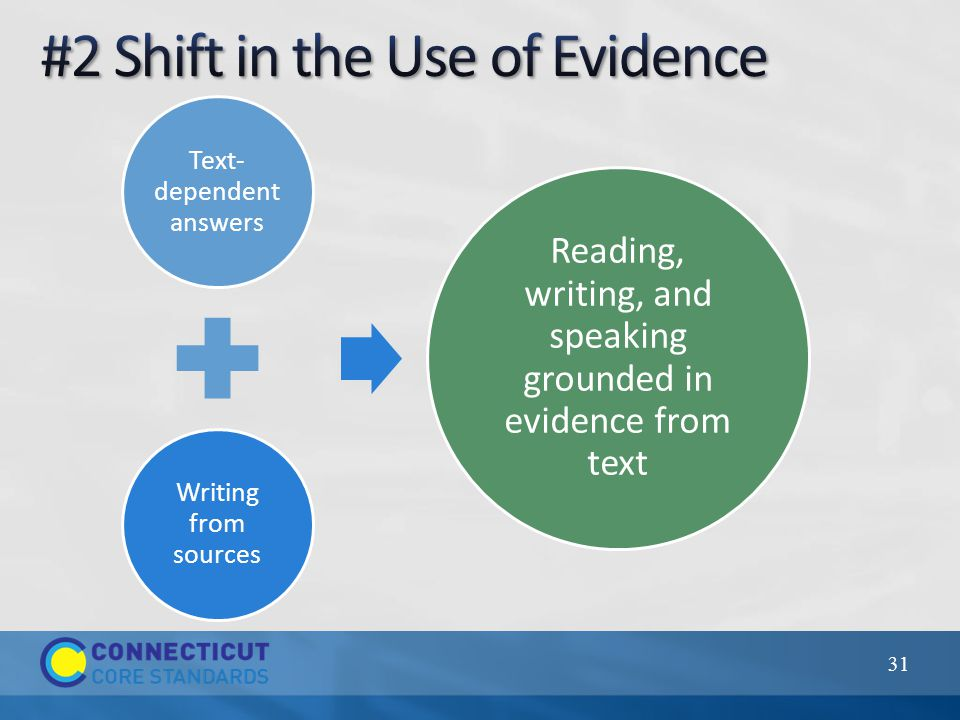 Text- dependent answers Writing from sources Reading, writing, and speaking grounded in evidence from text 31
