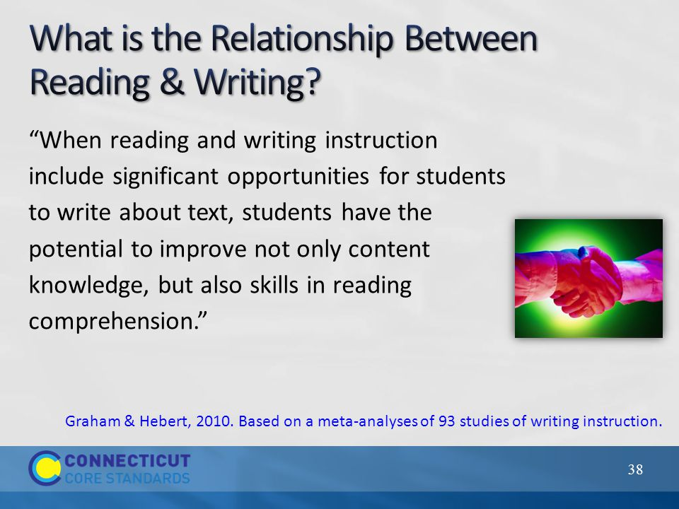 """When reading and writing instruction include significant opportunities for students to write about text, students have the potential to improve not o"