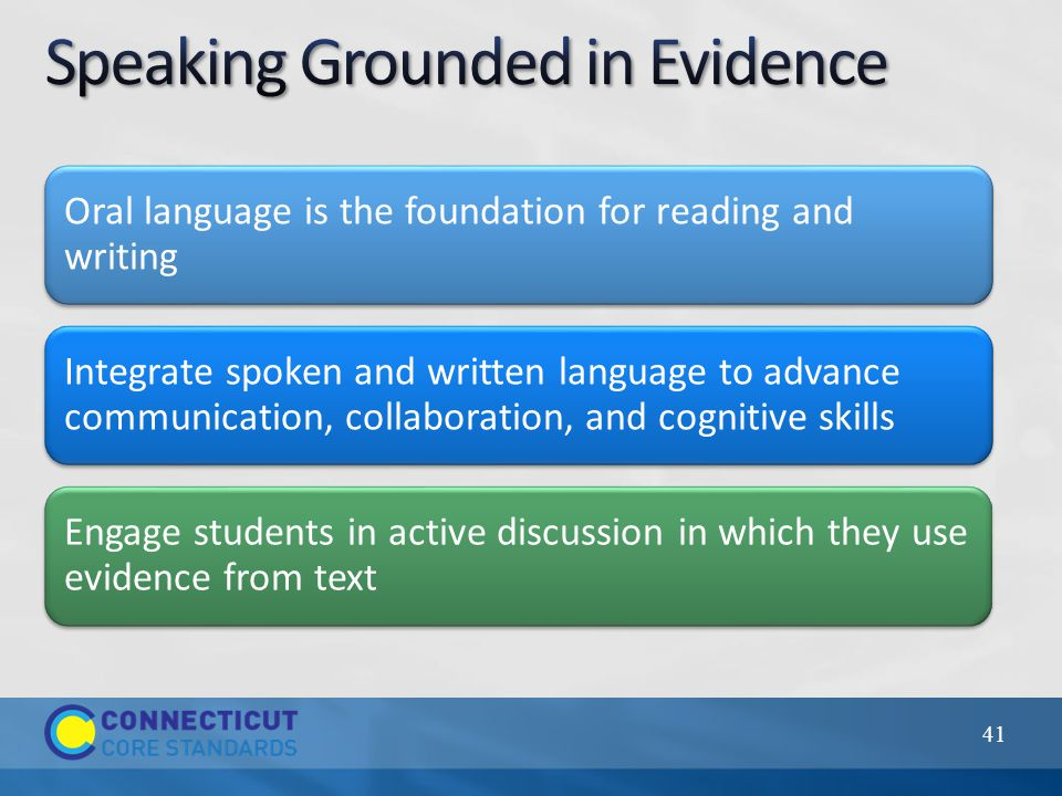 Oral language is the foundation for reading and writing Integrate spoken and written language to advance communication, collaboration, and cognitive s