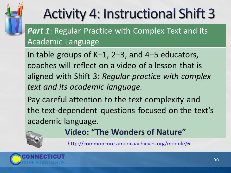Part 1: Regular Practice with Complex Text and its Academic Language In table groups of K–1, 2–3, and 4–5 educators, coaches will reflect on a video o