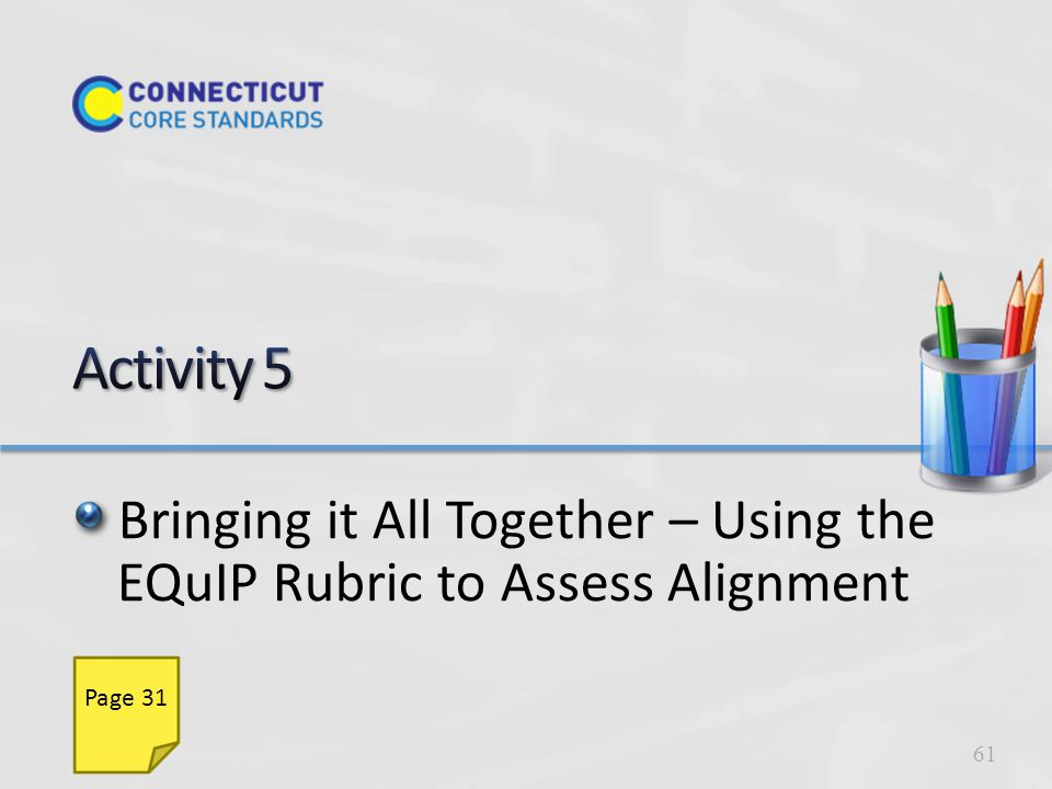 Use the EQuIP Rubric to examine alignment of units and lessons to CCS-ELA & Literacy: Alignment to the depth of CCS-ELA & Literacy Key shifts in the CCS-ELA & Literacy Instructional supports Assessment 62