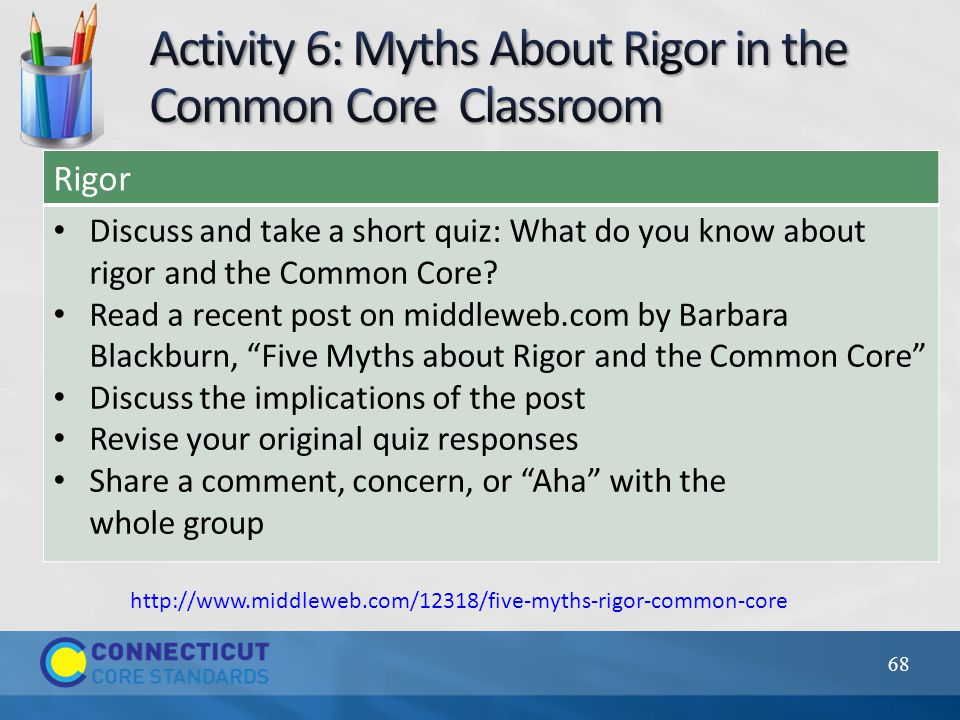 "Rigor Discuss and take a short quiz: What do you know about rigor and the Common Core? Read a recent post on middleweb.com by Barbara Blackburn, ""Five"