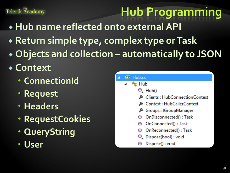  Hub name reflected onto external API  Return simple type, complex type or Task  Objects and collection – automatically to JSON  Context  Connect