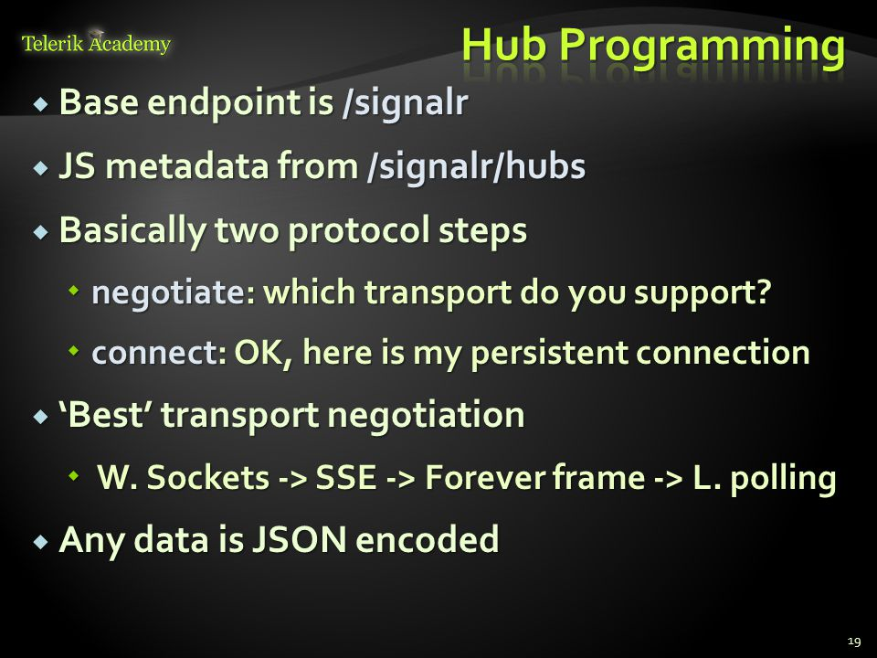  Base endpoint is /signalr  JS metadata from /signalr/hubs  Basically two protocol steps  negotiate: which transport do you support?  connect: OK