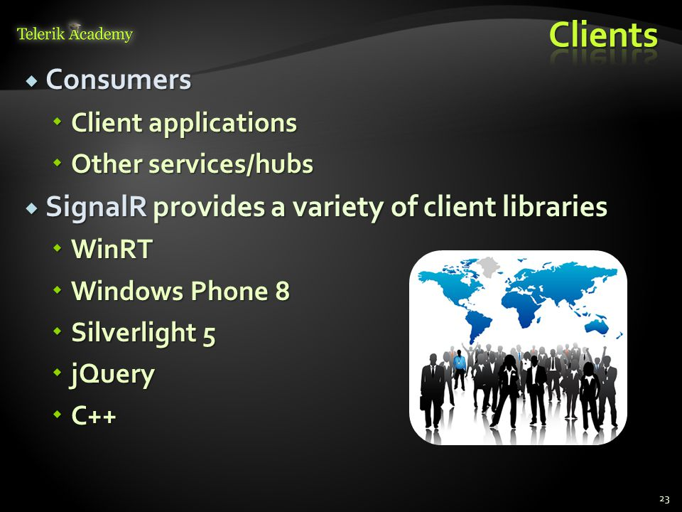  Consumers  Client applications  Other services/hubs  SignalR provides a variety of client libraries  WinRT  Windows Phone 8  Silverlight 5  j