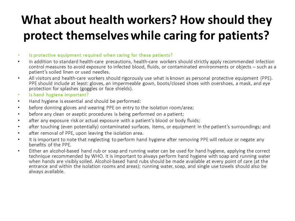 What about health workers.How should they protect themselves while caring for patients.