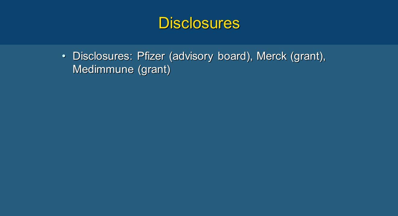 Disclosures Disclosures: Pfizer (advisory board), Merck (grant), Medimmune (grant)Disclosures: Pfizer (advisory board), Merck (grant), Medimmune (grant)