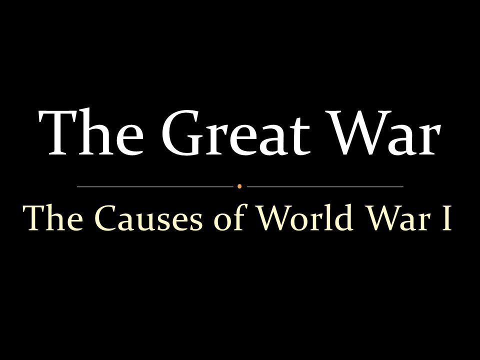 The Causes of World War I The Great War