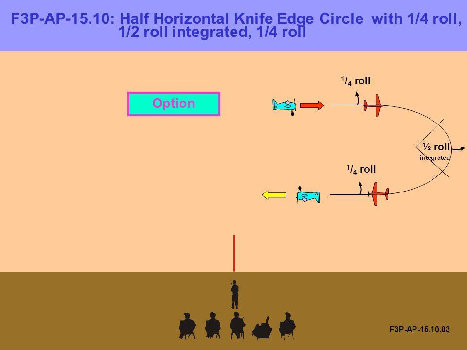 F3P-AP-15.10.03 F3P-AP-15.10: Half Horizontal Knife Edge Circle with 1/4 roll, 1/2 roll integrated, 1/4 roll 1 / 4 roll ½ roll integrated 1 / 4 roll Option