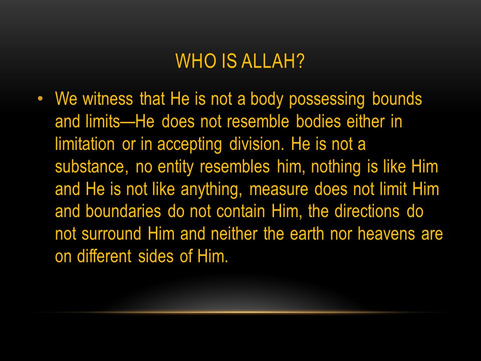 WHO IS ALLAH.