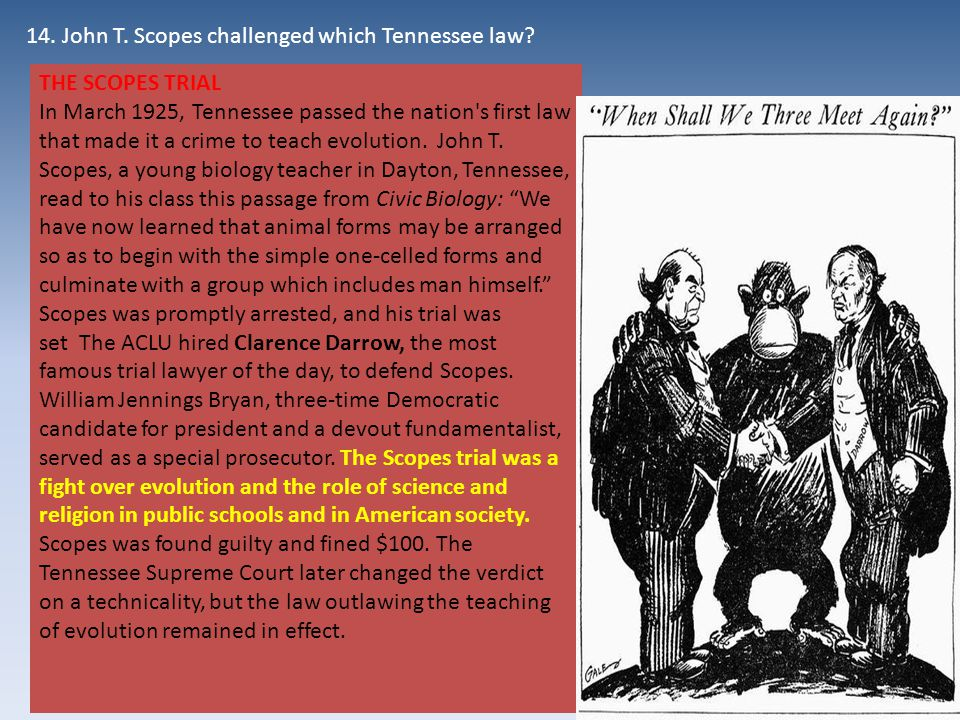 THE SCOPES TRIAL In March 1925, Tennessee passed the nation s first law that made it a crime to teach evolution.