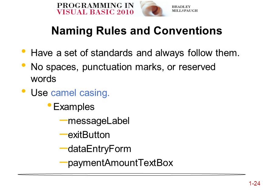 1-24 Naming Rules and Conventions Have a set of standards and always follow them.