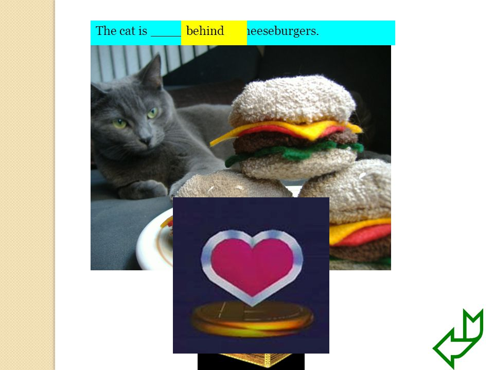 The cat is ________ the cheeseburgers.behind