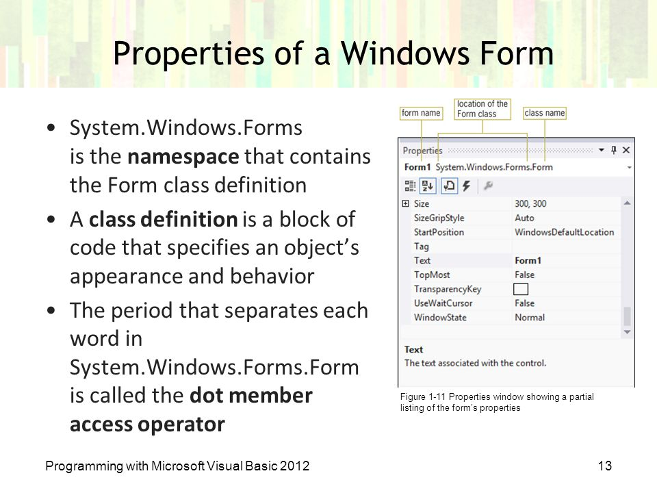 Properties of a Windows Form Programming with Microsoft Visual Basic 201213 System.Windows.Forms is the namespace that contains the Form class definit