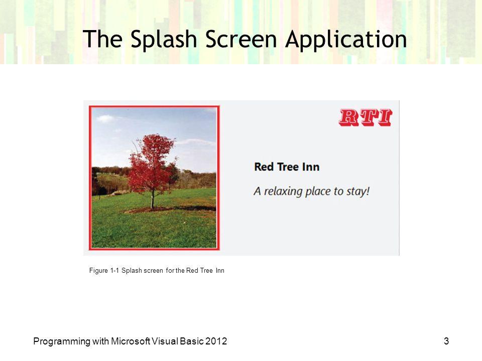 The Splash Screen Application Programming with Microsoft Visual Basic 20123 Figure 1-1 Splash screen for the Red Tree Inn