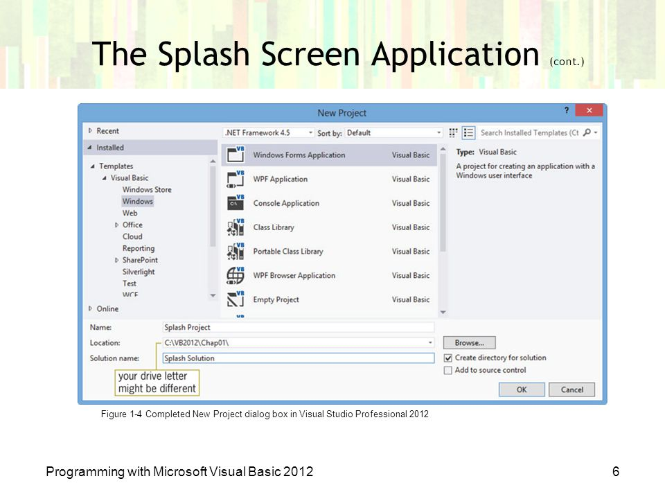 The Splash Screen Application (cont.) Programming with Microsoft Visual Basic 20126 Figure 1-4 Completed New Project dialog box in Visual Studio Profe