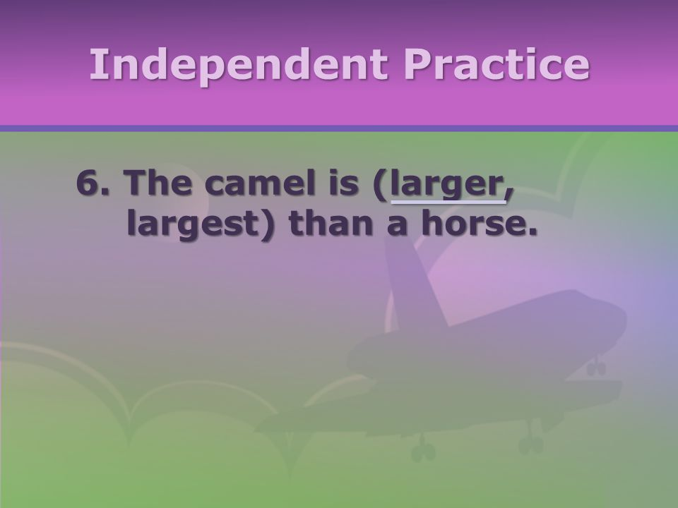 Independent Practice 6. The camel is (larger, largest) than a horse.