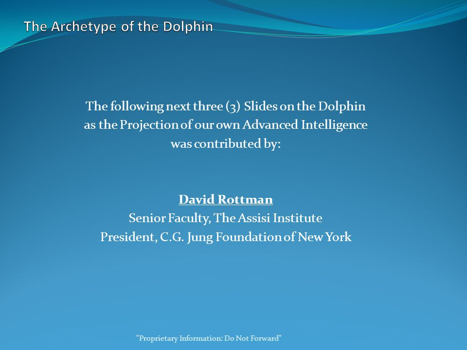 The following next three (3) Slides on the Dolphin as the Projection of our own Advanced Intelligence was contributed by: David Rottman Senior Faculty, The Assisi Institute President, C.G.