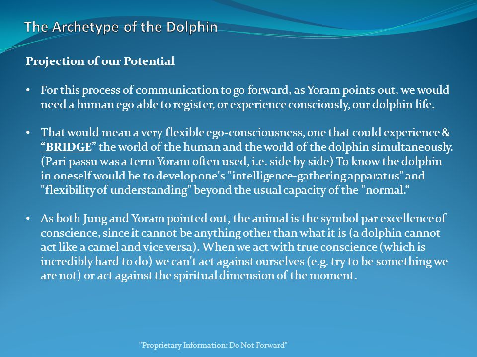 Projection of our Potential For this process of communication to go forward, as Yoram points out, we would need a human ego able to register, or experience consciously, our dolphin life.