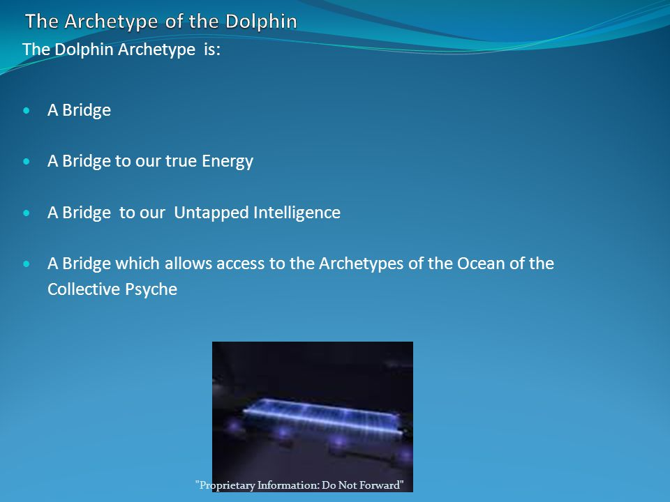 The Dolphin Archetype is:  A Bridge  A Bridge to our true Energy  A Bridge to our Untapped Intelligence  A Bridge which allows access to the Archetypes of the Ocean of the Collective Psyche Proprietary Information: Do Not Forward