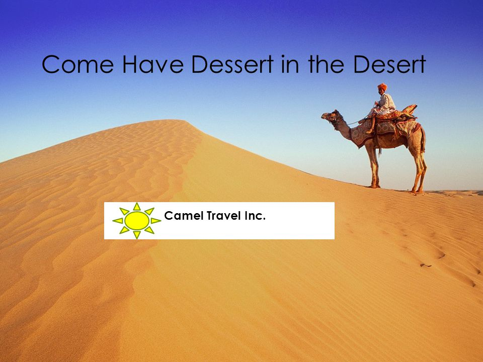 Come Have Dessert in the Desert Camel Travel Inc.