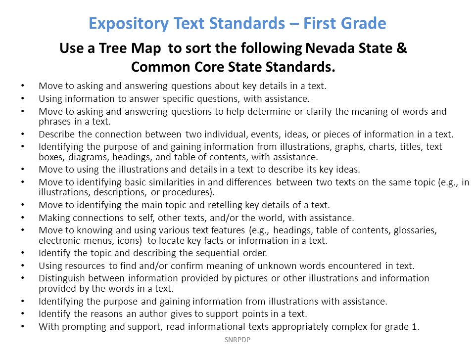 SNRPDP Expository Text Standards – First Grade Use a Tree Map to sort the following Nevada State & Common Core State Standards.