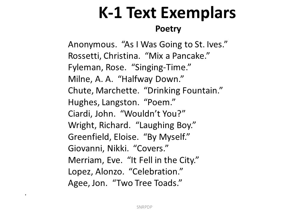 K-1 Text Exemplars Poetry Anonymous. As I Was Going to St.