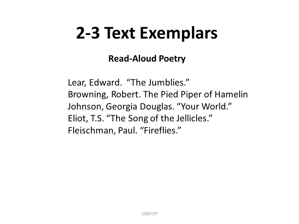 SNRPDP 2-3 Text Exemplars Read-Aloud Poetry Lear, Edward.