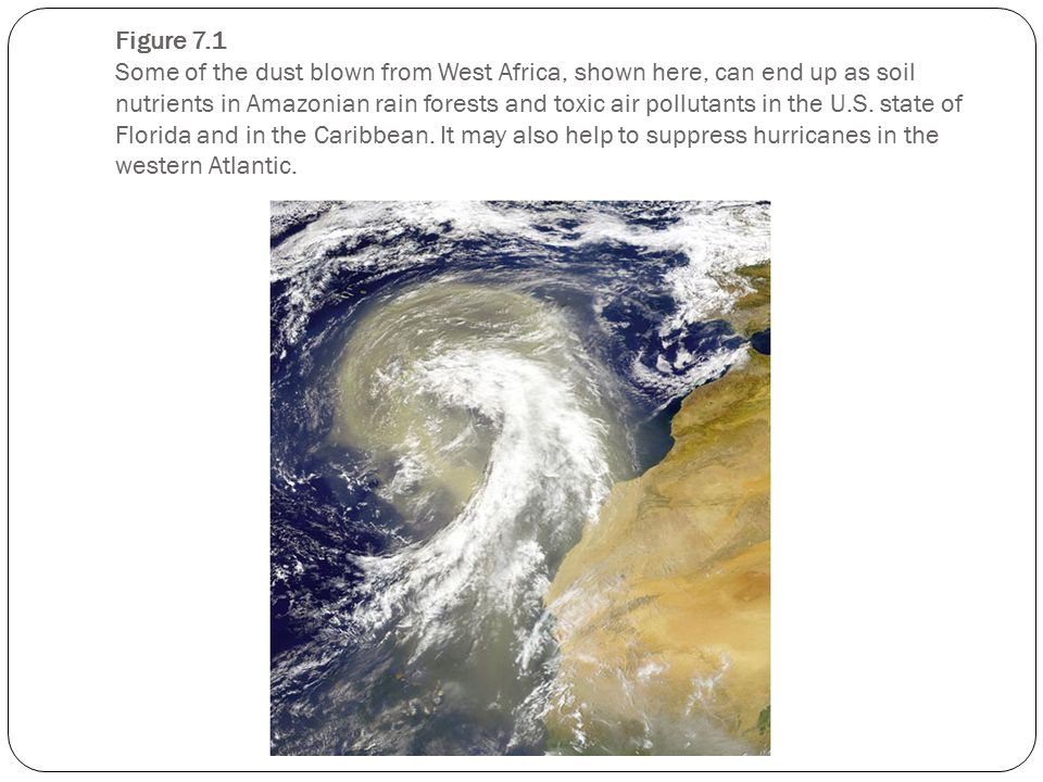 Figure 7.1 Some of the dust blown from West Africa, shown here, can end up as soil nutrients in Amazonian rain forests and toxic air pollutants in the U.S.