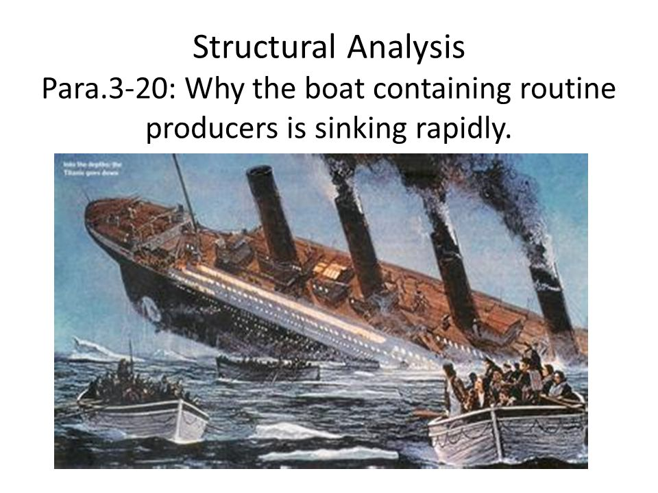 Structural Analysis Para.3-20: Why the boat containing routine producers is sinking rapidly.