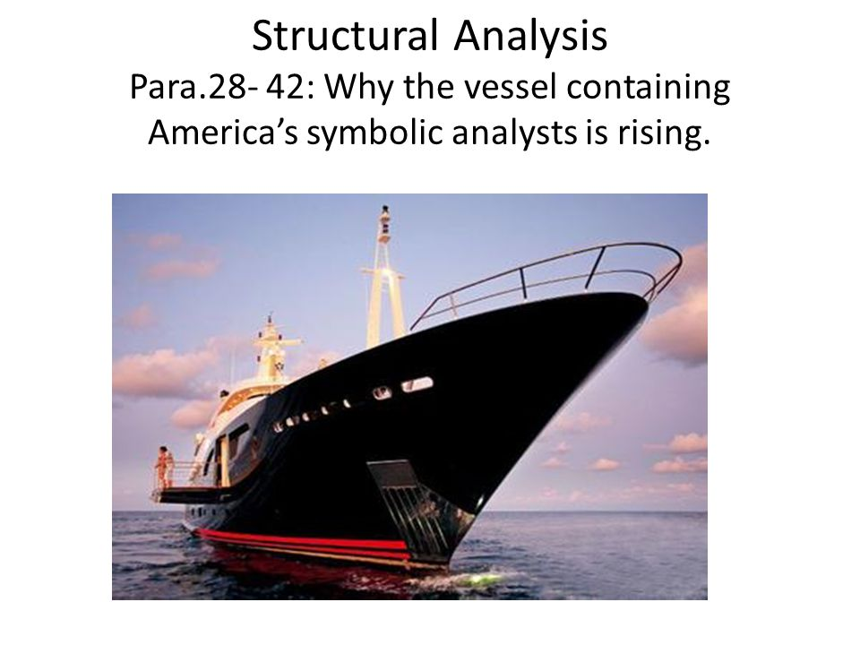 Structural Analysis Para.28- 42: Why the vessel containing America's symbolic analysts is rising.
