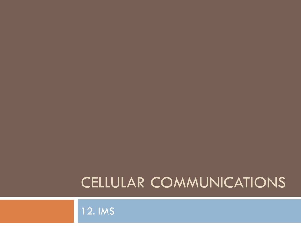 CELLULAR COMMUNICATIONS 12. IMS