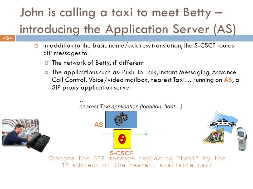 John is calling a taxi to meet Betty – introducing the Application Server (AS) 17 | IMS in I&R | January 2007  In addition to the basic name/address
