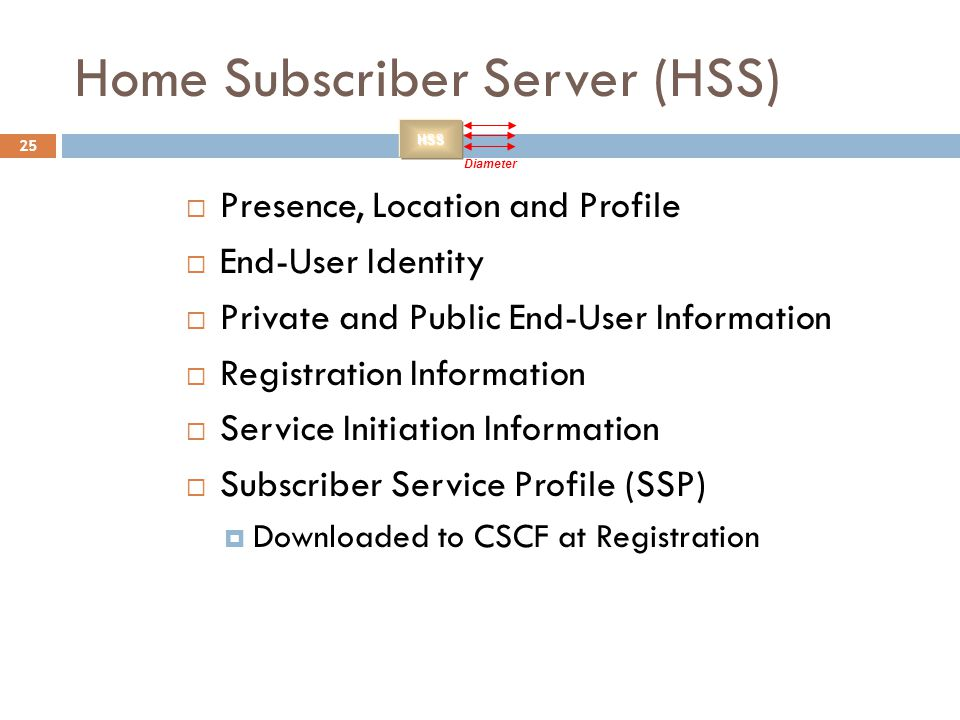 25 Home Subscriber Server (HSS)  Presence, Location and Profile  End-User Identity  Private and Public End-User Information  Registration Informat