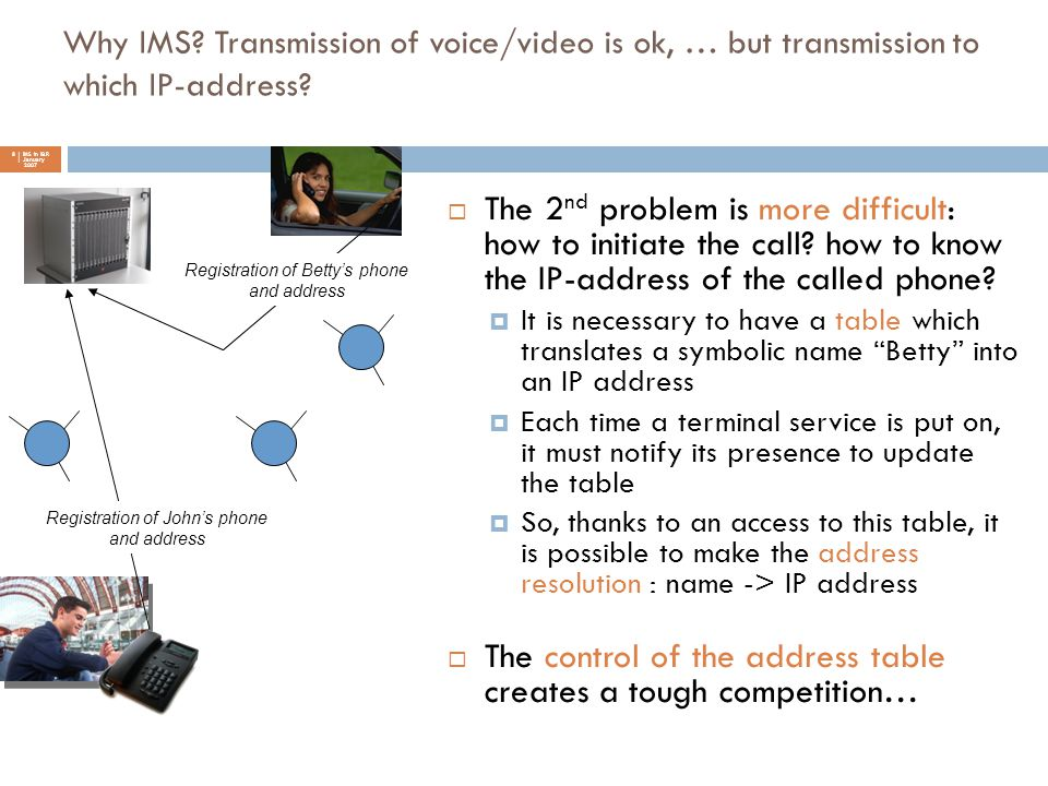 Why IMS? Transmission of voice/video is ok, … but transmission to which IP-address? 8 | IMS in I&R | January 2007  The 2 nd problem is more difficult