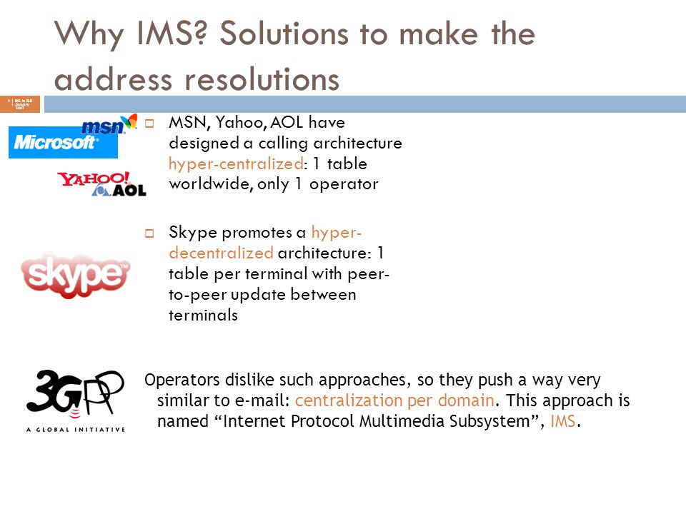 Why IMS? Solutions to make the address resolutions 9 | IMS in I&R | January 2007  MSN, Yahoo, AOL have designed a calling architecture hyper-centrali