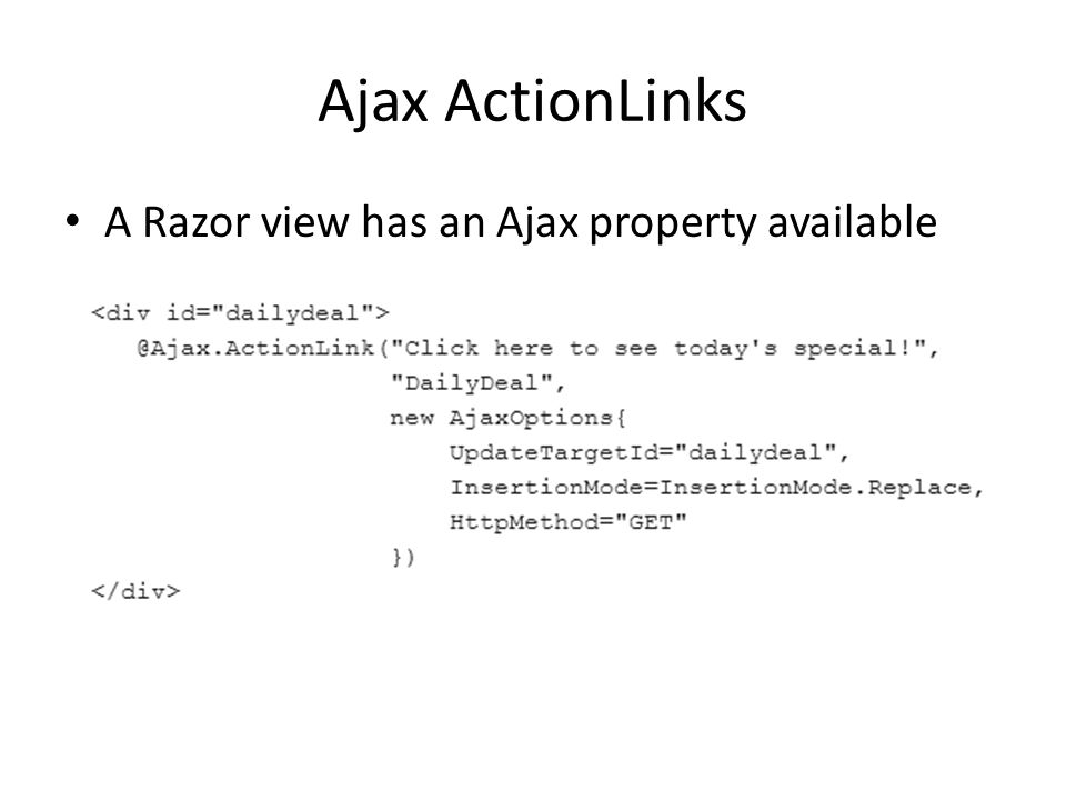 Ajax ActionLinks A Razor view has an Ajax property available