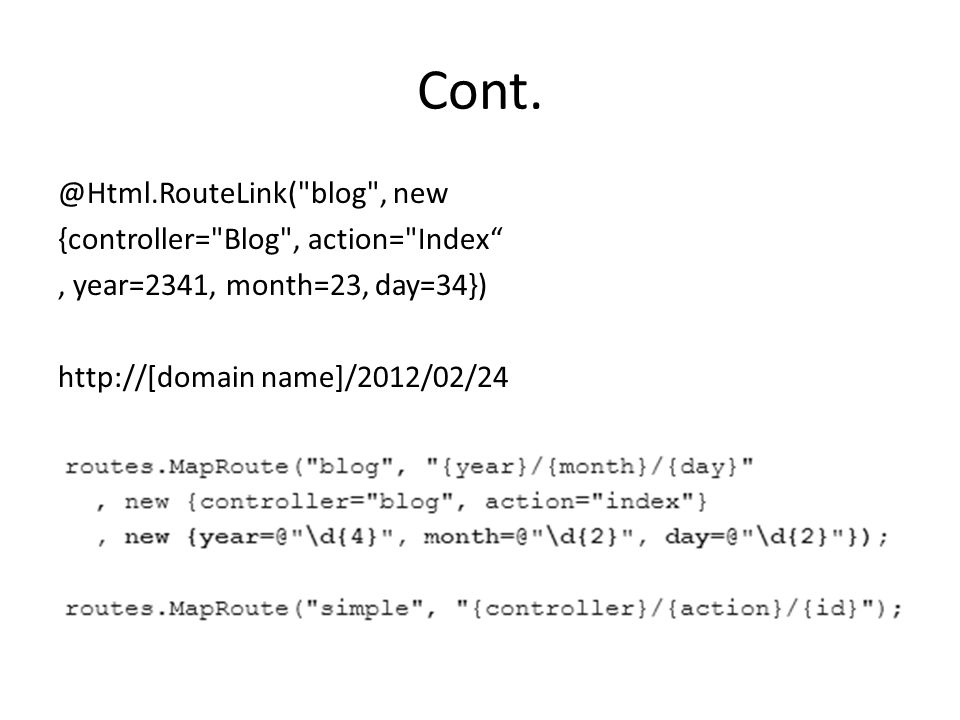Cont. @Html.RouteLink(