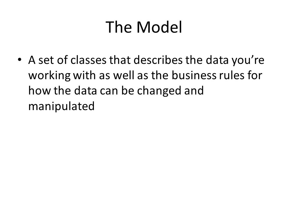 The Model A set of classes that describes the data you're working with as well as the business rules for how the data can be changed and manipulated