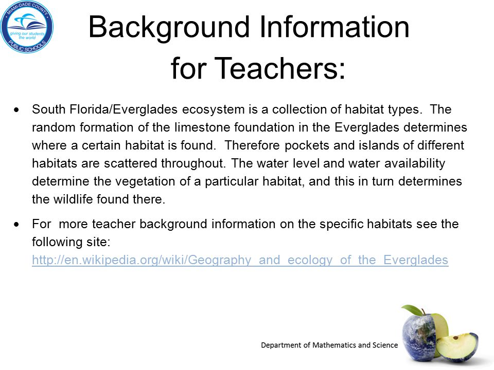 Background Information for Teachers:  South Florida/Everglades ecosystem is a collection of habitat types. The random formation of the limestone foun