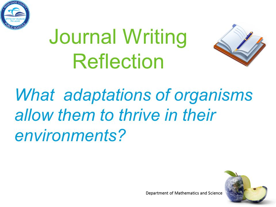 What adaptations of organisms allow them to thrive in their environments? Journal Writing Reflection