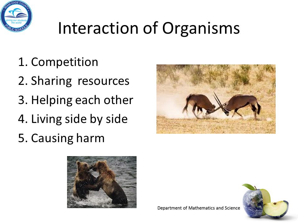 Interaction of Organisms 1. Competition 2. Sharing resources 3. Helping each other 4. Living side by side 5. Causing harm